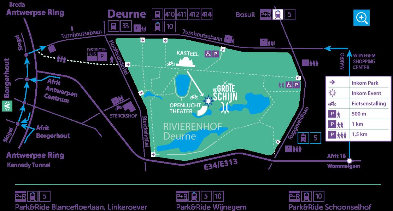 Kaart met locatieaanduiding (inkom) van park